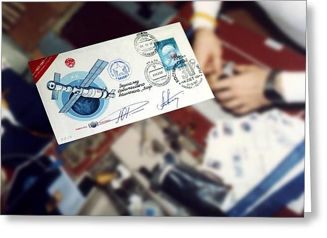 1987 Greeting Cards - First Space Mail Greeting Card by Detlev Van Ravenswaay