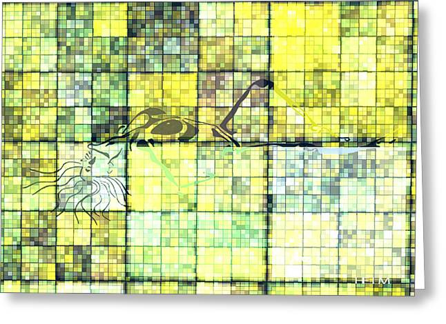 Abstract Digital Drawings Greeting Cards - First time geometric yellow Greeting Card by Mayhem Mediums