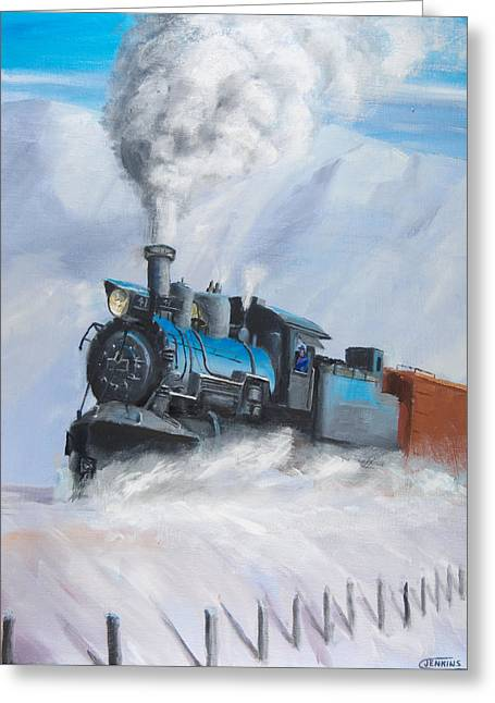 First Train Through Greeting Card by Christopher Jenkins