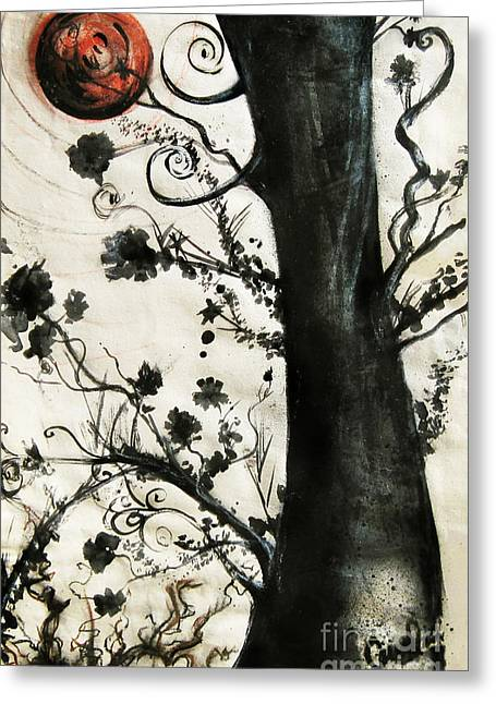 Asian Influence Greeting Cards - First Tree Greeting Card by Carrie Jackson