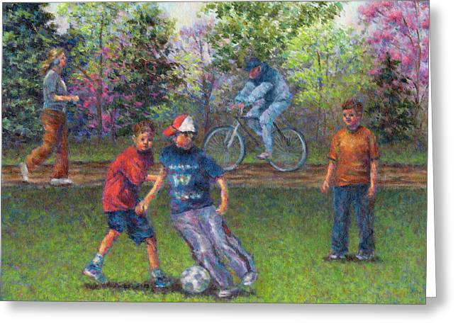 Jogging Greeting Cards - First Warm Day Greeting Card by Susan Savad