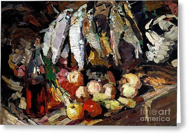 Decorative Fish Greeting Cards - Fish - Wine - Fruit Greeting Card by Pg Reproductions