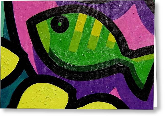Lemon Art Greeting Cards - Fish And Lemons Greeting Card by John  Nolan