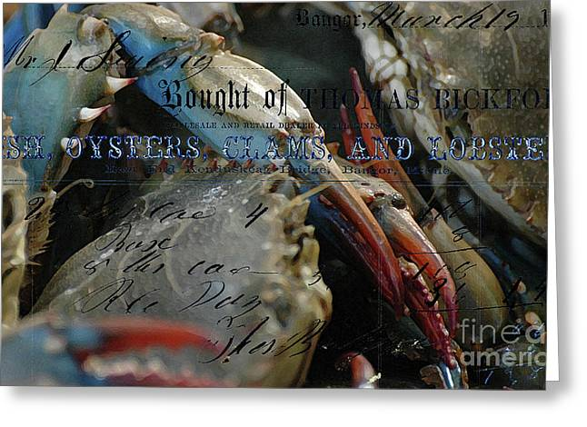 Decorative Fish Mixed Media Greeting Cards - Fish and Lobsters  Greeting Card by Anahi DeCanio