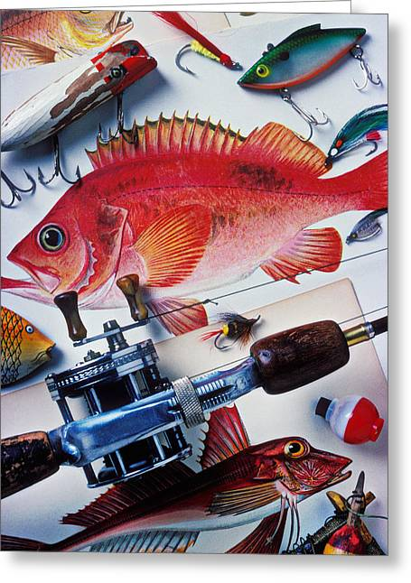 Pastimes Photographs Greeting Cards - Fish bookplates and tackle Greeting Card by Garry Gay