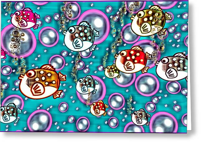 Silly Fish Greeting Cards - Fish Bubbles Greeting Card by Tisha McGee