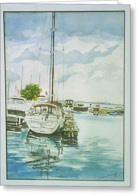 Fish Creek Harbor Greeting Card by Laurel Fredericks