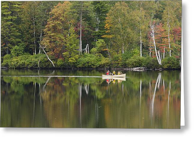 Canoe Greeting Cards - Fish Creek Pond in Adirondack Park - New York Greeting Card by Brendan Reals