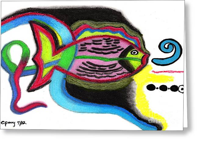 Colorful Creatures Drawings Greeting Cards - Fish Design 2 Greeting Card by Christine Perry