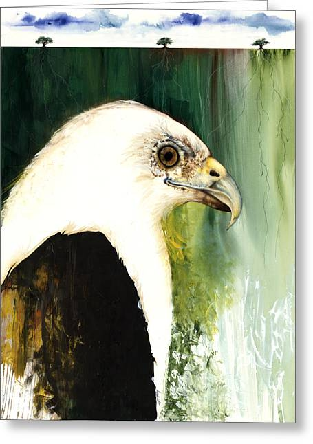 Yellow Fish Mixed Media Greeting Cards - Fish Eagle Greeting Card by Anthony Burks Sr