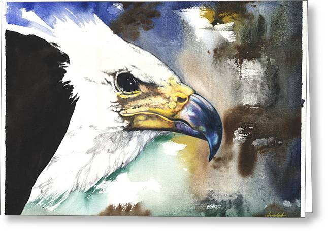Yellow Fish Mixed Media Greeting Cards - Fish Eagle II Greeting Card by Anthony Burks Sr