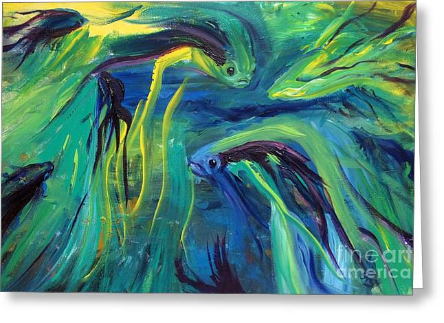 Betta Greeting Cards - Fish Flow Greeting Card by Jamie Hartley