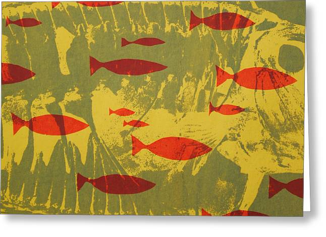 Red Abstracts Tapestries - Textiles Greeting Cards - Fish for Thought Greeting Card by Chris Steinken
