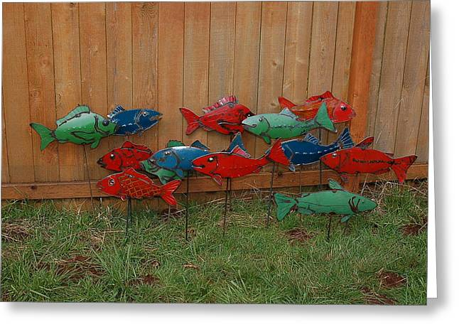 Salmon Sculptures Greeting Cards - Fish From Cars Greeting Card by Ben Dye
