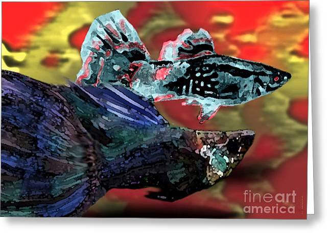 Textures Greeting Cards - Fish in Digital Art Greeting Card by Mario  Perez
