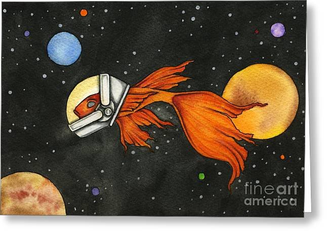 Nora Blansett Greeting Cards - Fish In Space Greeting Card by Nora Blansett
