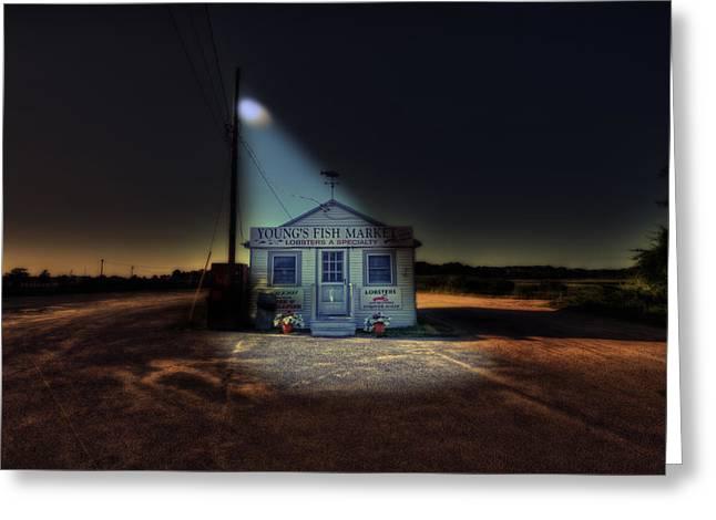 Cod Digital Art Greeting Cards - Fish Market Cape Cod Greeting Card by Dapixara Art