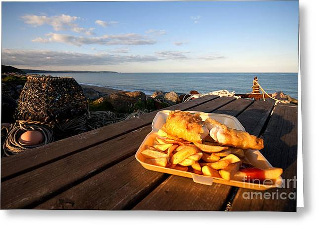 Vinegar Greeting Cards - Fish n Chips by the beach Greeting Card by Rob Hawkins