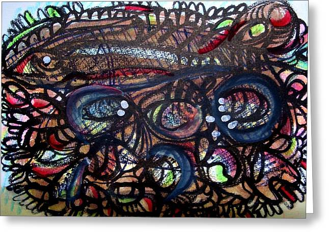 Cook Drawings Drawings Greeting Cards - Fish On The Firewood Greeting Card by Aquira Kusume