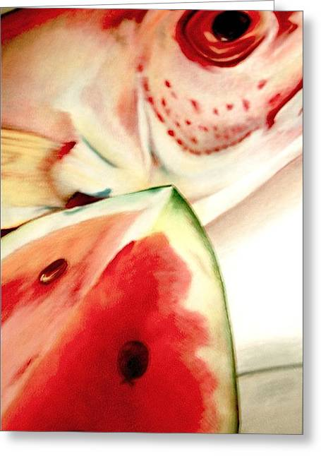 Melon Drawings Greeting Cards - Fish out of Watermelon Greeting Card by Joan Pollak
