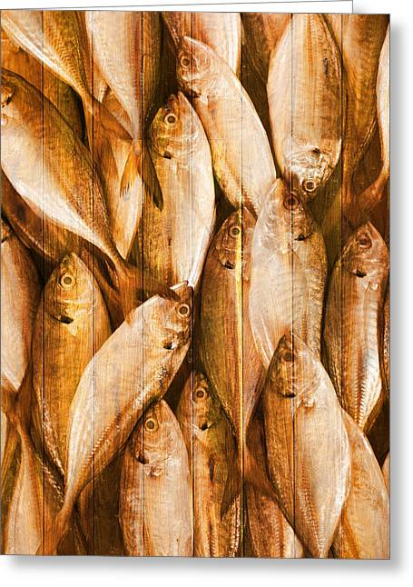 Decorative Fish Greeting Cards - Fish Pattern On Wood Greeting Card by Setsiri Silapasuwanchai