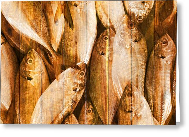 fish pattern on wood Greeting Card by Setsiri Silapasuwanchai