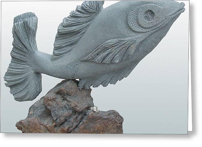 Fish Sculpture Greeting Card by Hwaida Bouhamdan