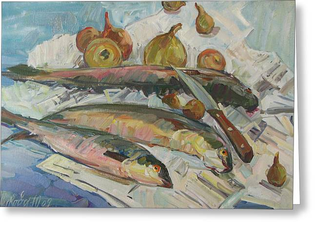 Recently Sold -  - Still Life With Fish Greeting Cards - Fish soup Greeting Card by Juliya Zhukova