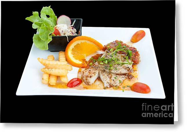 Menu Greeting Cards - Fish Steak Greeting Card by Atiketta Sangasaeng