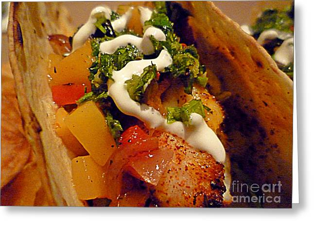 Mango Greeting Cards - Fish Taco with Mango Salsa Greeting Card by Renee Trenholm
