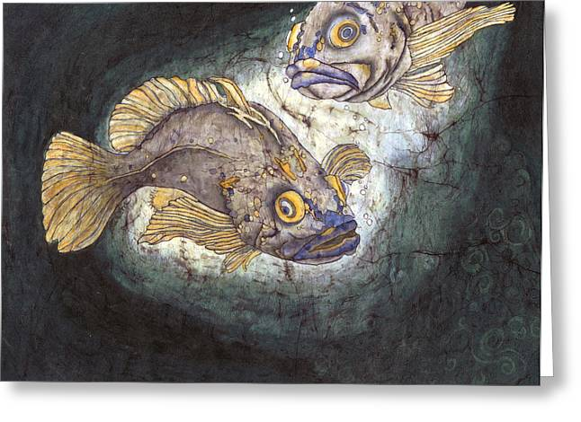 Sealife Posters Greeting Cards - Fish Tales Greeting Card by Shari Carlson