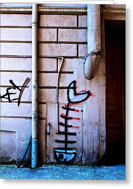Fishbone Greeting Cards - Fishbone Graffiti Greeting Card by Ferry Ten Brink