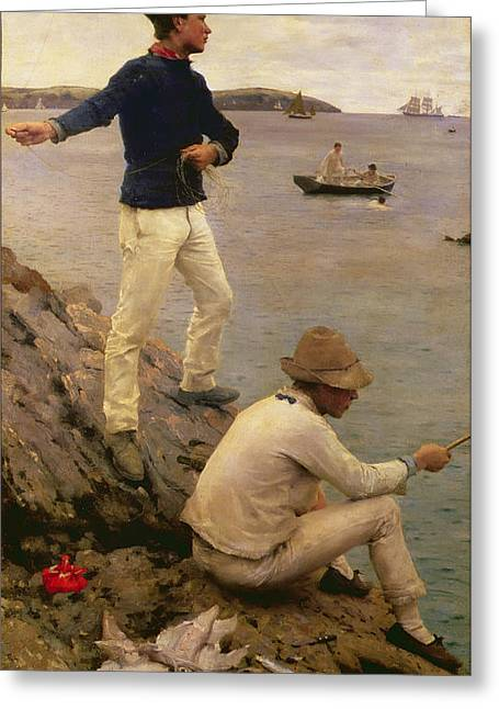 Guernsey Greeting Cards - Fisher Boys Falmouth Greeting Card by Henry Scott Tuke
