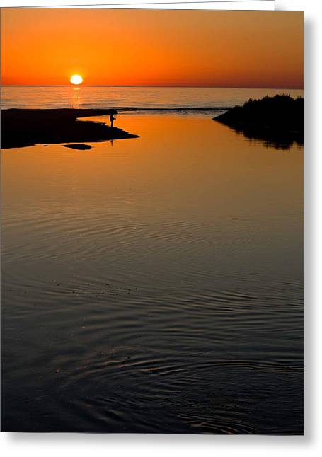 Ludington State Park Greeting Cards - Fisherman at Sunset on Lake Michigan Greeting Card by Twenty Two North Photography