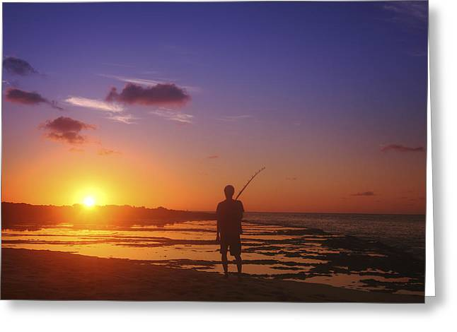 Vince Greeting Cards - Fisherman at Sunset Greeting Card by Vince Cavataio - Printscapes