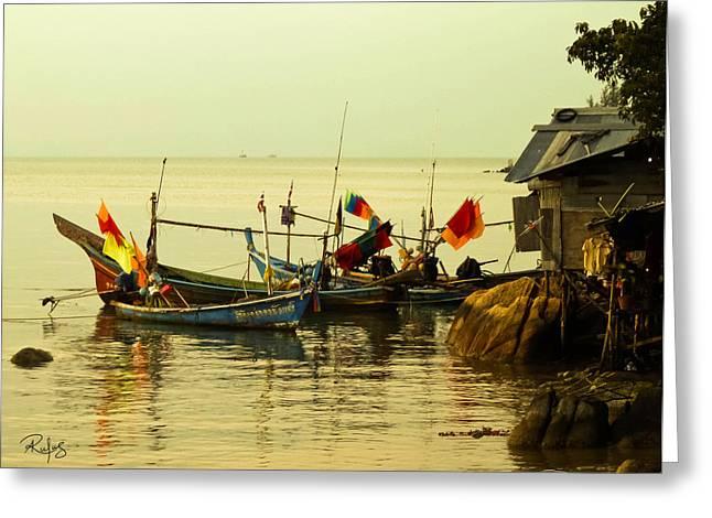 Fisherman Boats Greeting Card by Allan Rufus