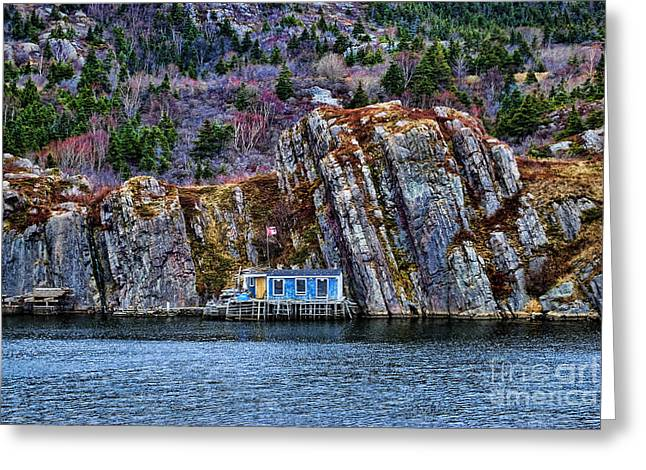 Chalet Decor Greeting Cards - Fisherman cabin Greeting Card by Claude Gariepy