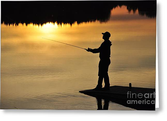 Tackle Pyrography Greeting Cards - Fisherman Greeting Card by Conny Sjostrom