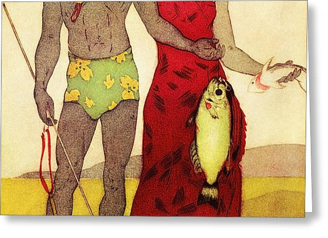 Fisherman Greeting Card by Hawaiian Legacy Archives - Printscapes