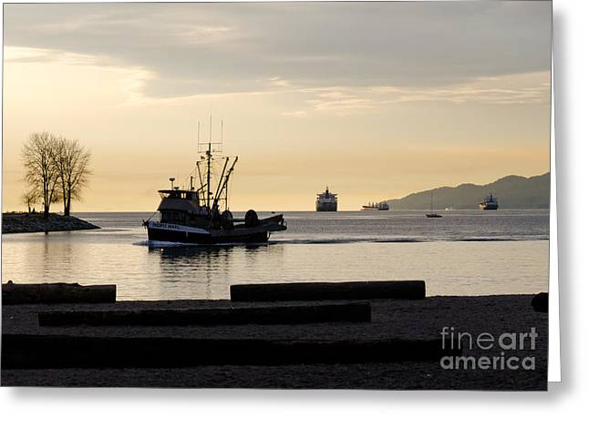Fishing Creek Greeting Cards - FISHERMAN HOME returning to port from the inside passage vancouver BC canada Greeting Card by Andy Smy