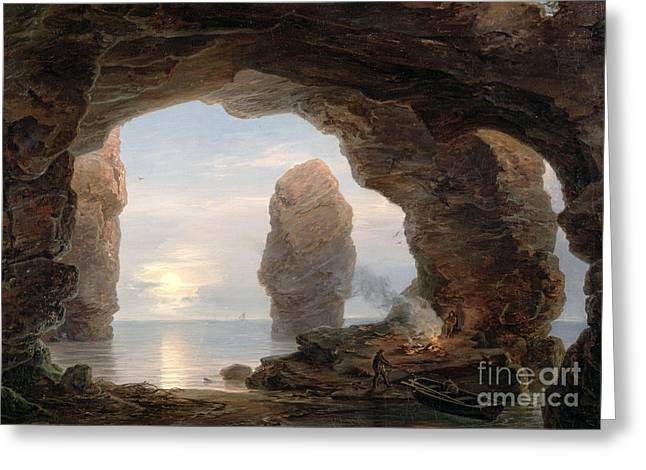 Water In Cave Greeting Cards - Fisherman in a Grotto Helgoland Greeting Card by Christian Ernst Bernhard Morgenstern