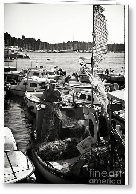 Netting Greeting Cards - Fisherman Greeting Card by Madeline Ellis