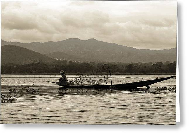 Agriculture Framed Prints Greeting Cards - Fisherman on Inle Lake Greeting Card by RicardMN Photography