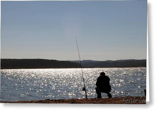 Fishing Rods Pyrography Greeting Cards - Fisherman Greeting Card by Ricardo Sousa