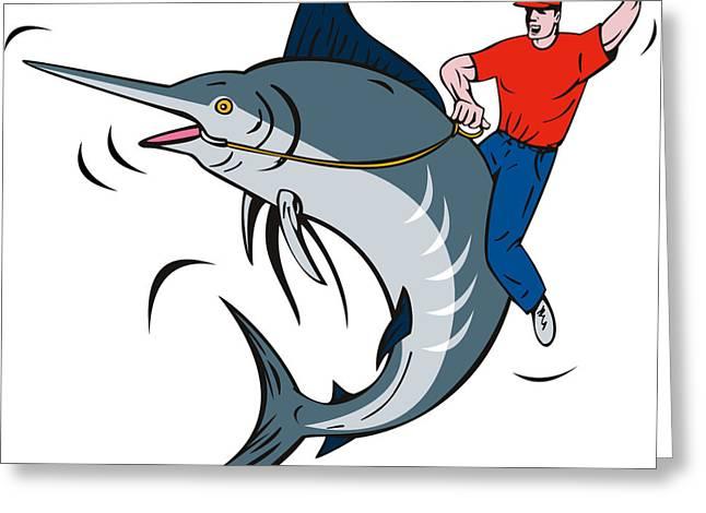 Swordfish Greeting Cards - Fisherman Riding Marlin Greeting Card by Aloysius Patrimonio