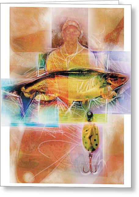 Sports Illustrated Greeting Cards - Fisherman With Fish Greeting Card by Design Pics Eye Traveller