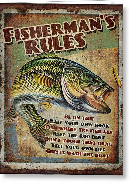 Lake Paintings Greeting Cards - Fishermans Rules Greeting Card by JQ Licensing