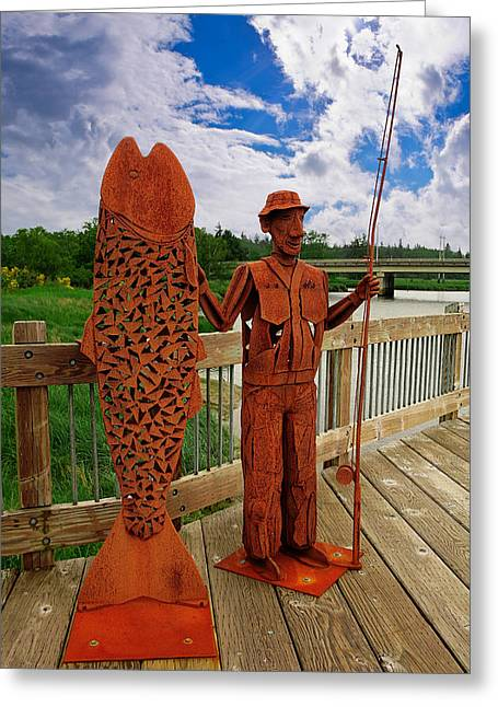 Talking Fish Greeting Cards - Fishermans Tale Greeting Card by Wendy White
