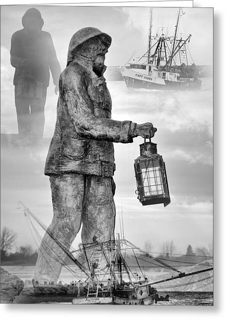 Point Pleasant Greeting Cards - Fishermen - Jersey Shore Greeting Card by Angie Tirado
