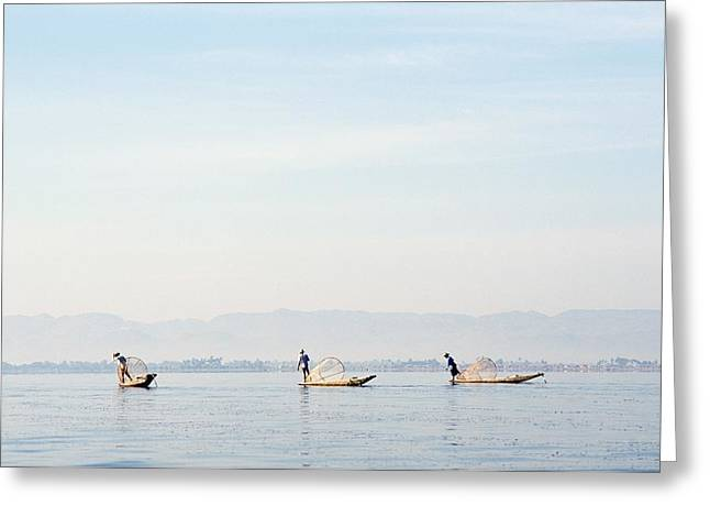 Locals Only Greeting Cards - Fishermen At Sunrise Greeting Card by Axiom Photographic